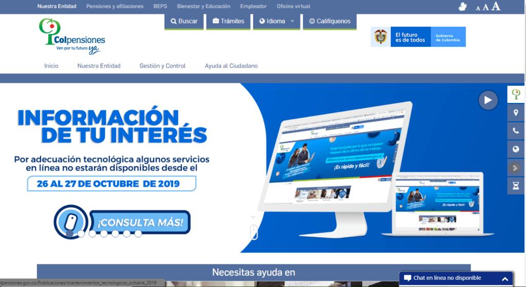 Imagen del sitio web oficial de colpensiones