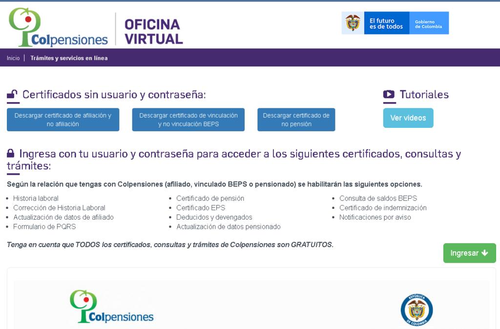 Imagen de Certificado de pensiones Colpensiones - Descargar + Tutorial